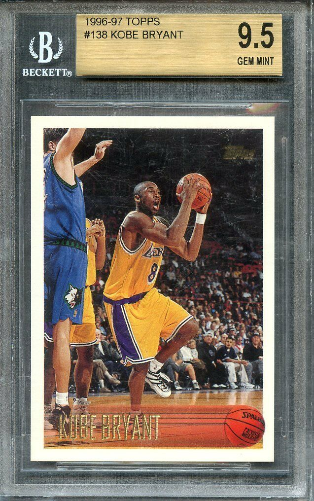 1996-97 topps #138 KOBE BRYANT lakers rookie card BGS 9.5 (9.5 9.5 9.5 9.5)