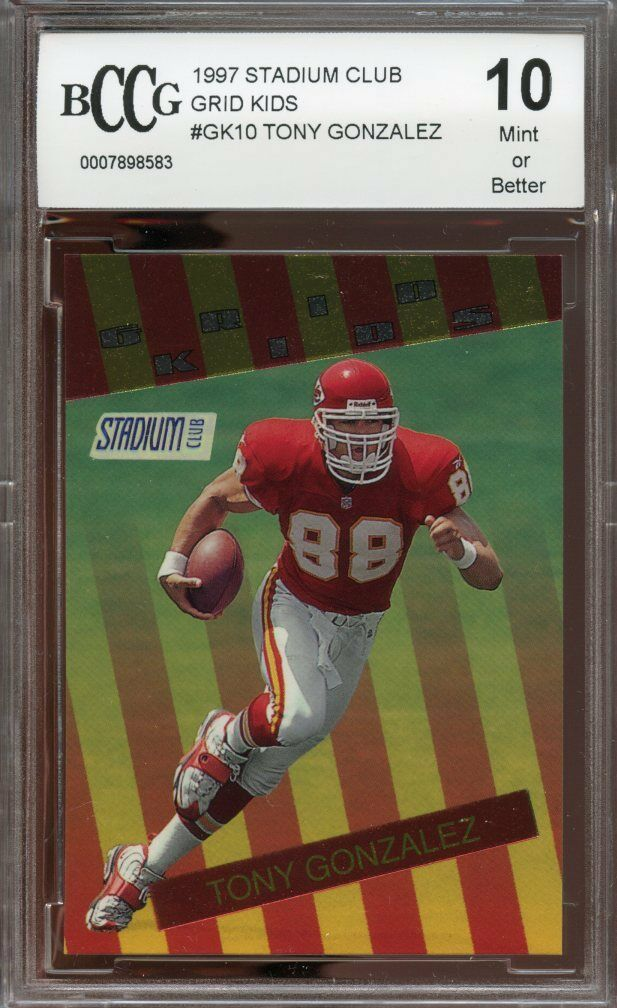 1997 stadium club grid kids #gk10 TONY GONZALEZ chiefs rookie card BGS BCCG 10