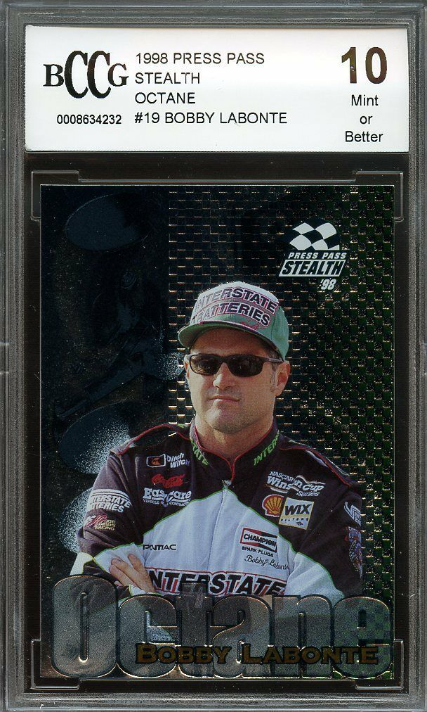1998 press pass stealth octane #19 BOBBY LABONTE BGS BCCG 10