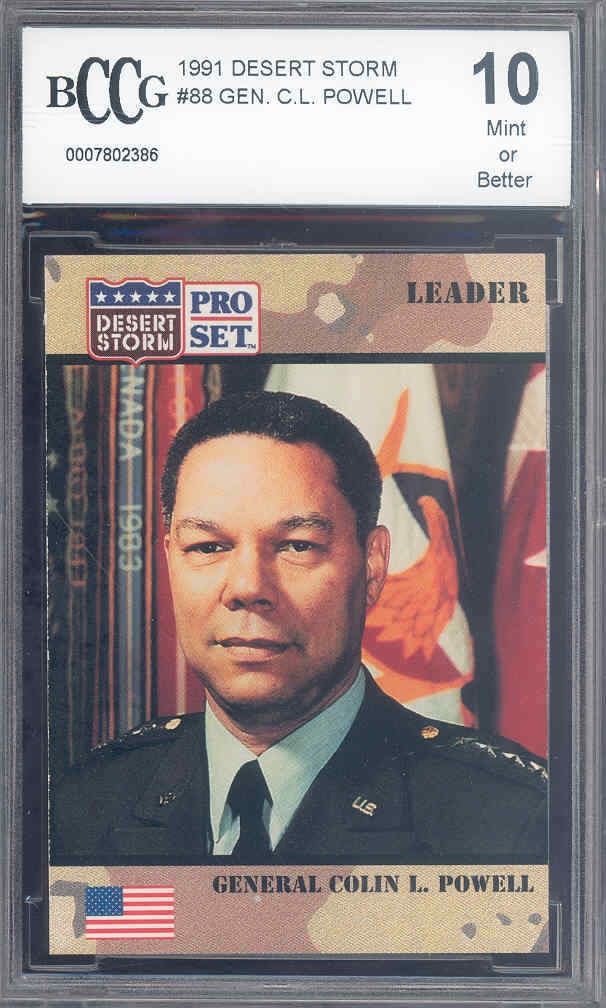 1991 desert storm #88 GENERAL COLIN POWELL trading card BGS BCCG 10