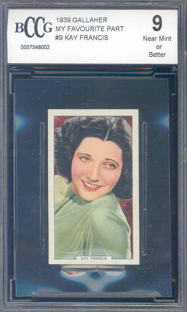 1939 gallaher my favourite part #9 KAY FRANCIS  BGS BCCG 9