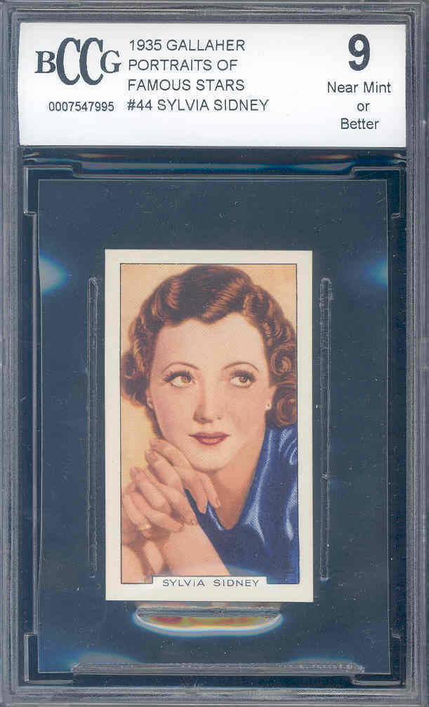 1935 gallaher portraits of famous stars #44 SYLVIA SIDNEY BGS BCCG 9