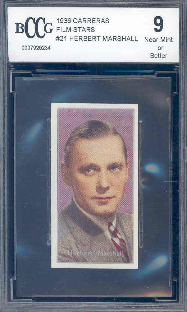 1936 carreras film stars #21 HERBERT MARSHALL BGS BCCG 9
