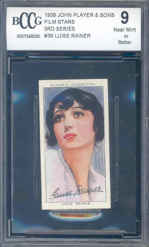1938 john player n sons film stars 3rd series #39 LUISE RAINER BGS BCCG 9