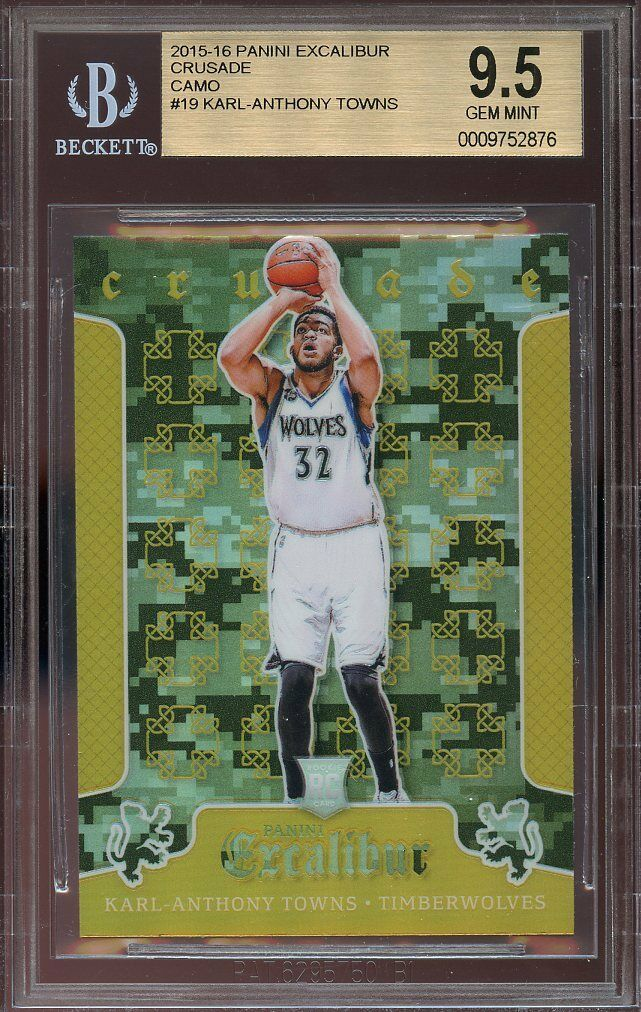 2015-16 panini excalibur crusade camo #19 KARL ANTHONY TOWNS rookie card BGS 9.5