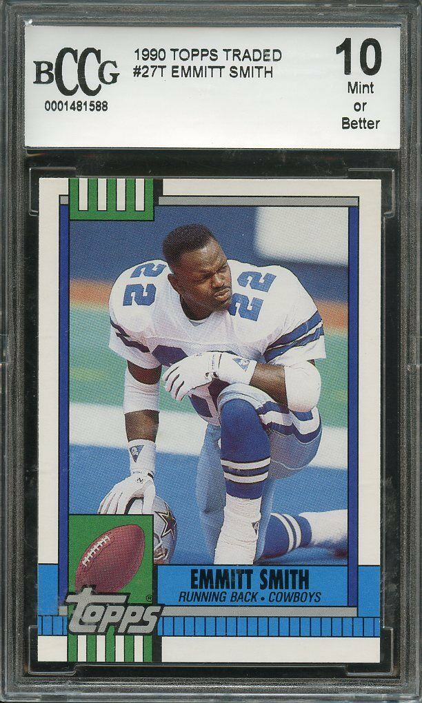 1990 topps traded #27t EMMITT SMITH dallas cowboys rookie card BGS BCCG 10