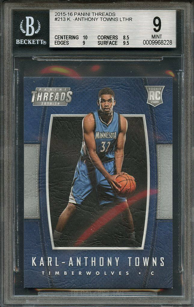 2015-16 panini threads #213 KARL-ANTHONY TOWNS LTHR rookie BGS 9 (10 8.5 9 9.5)