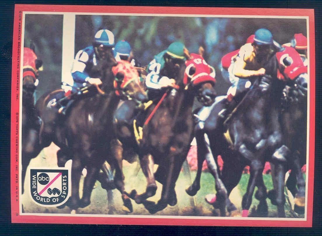 1975 Topps ABC Wide World of Sports Big Sticker Card 5x7 #18 Horse Racing