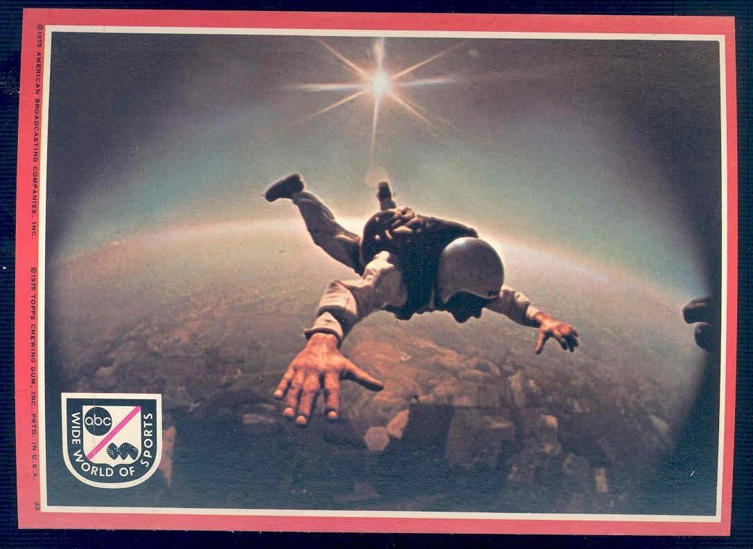 1975 Topps ABC Wide World of Sports Big Sticker Card 5x7 #22 Skydiving
