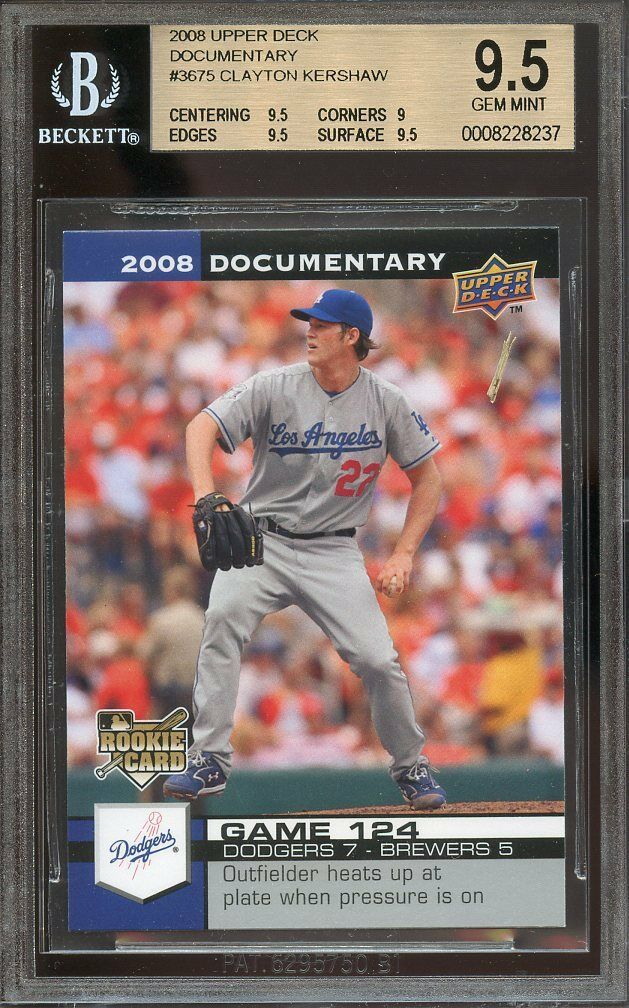 2008 upper deck documentary #3675 CLAYTON KERSHAW rookie BGS 9.5 (9.5 9 9.5 9.5)