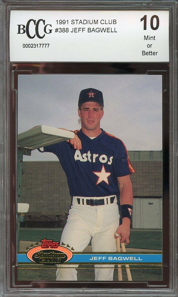 1991 stadium club #388 JEFF BAGWELL houston astros rookie card BGS BCCG 10