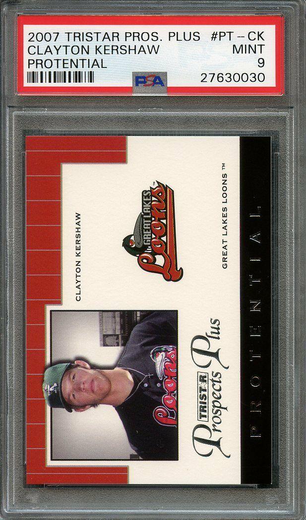 2007 tristar prospects plus protential #pt-ck CLAYTON KERSHAW rookie card PSA 9
