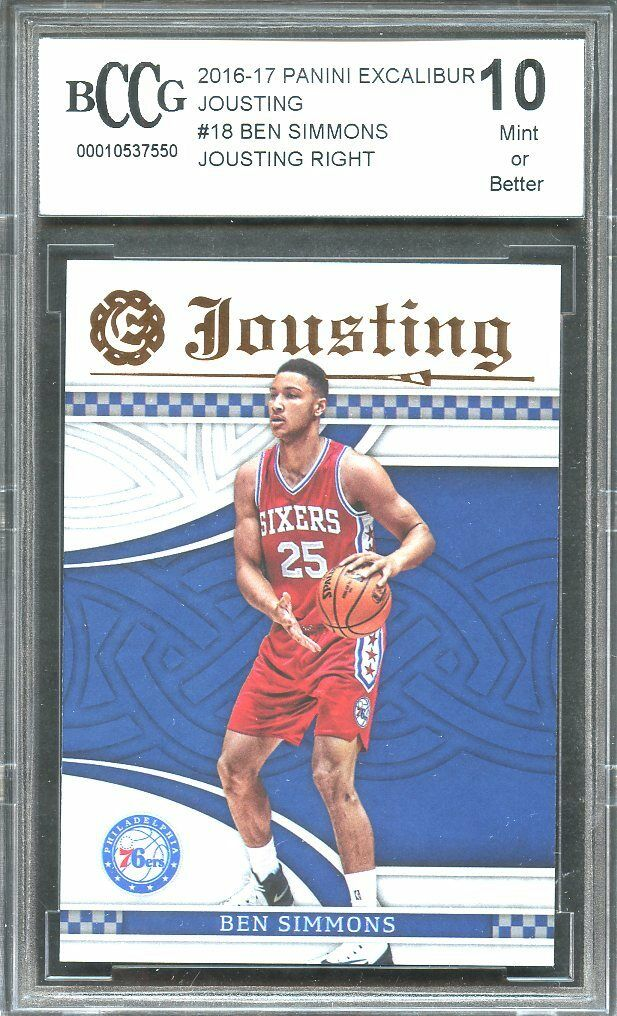 00025b164 2016-17 panini excalibur jousting  18 BEN SIMMONS 76ers rookie card BGS  BCCG 10