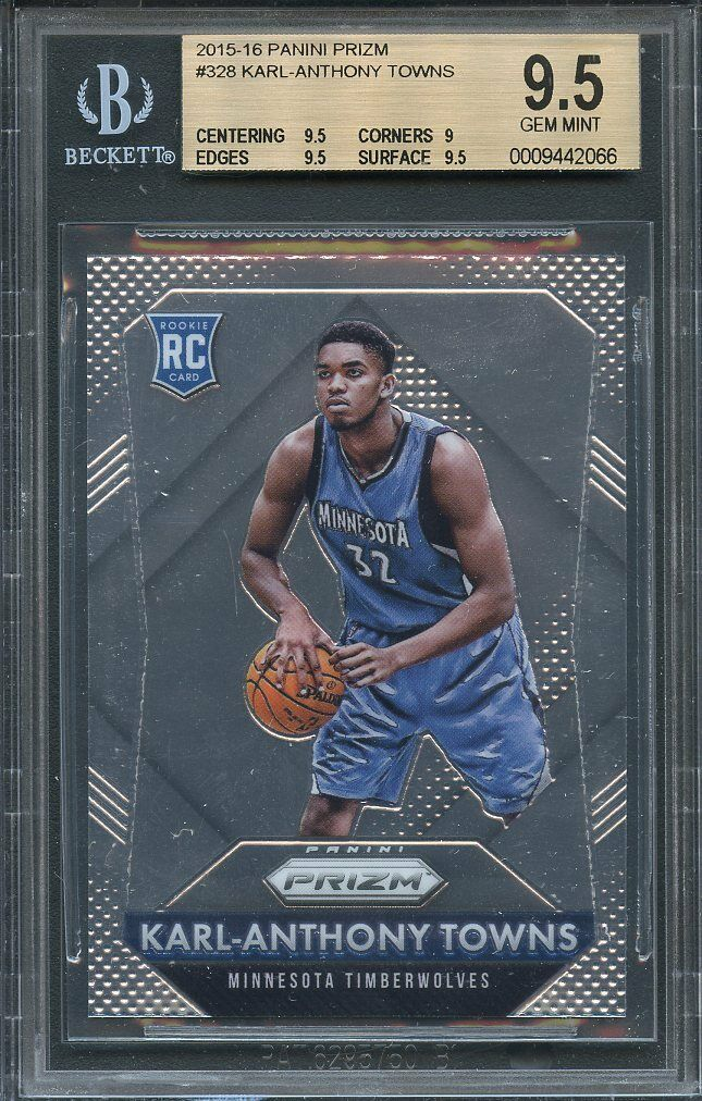 2015-16 panini prizm #328 KARL-ANTHONY TOWNS rookie card BGS 9.5 (9.5 9 9.5 9.5)