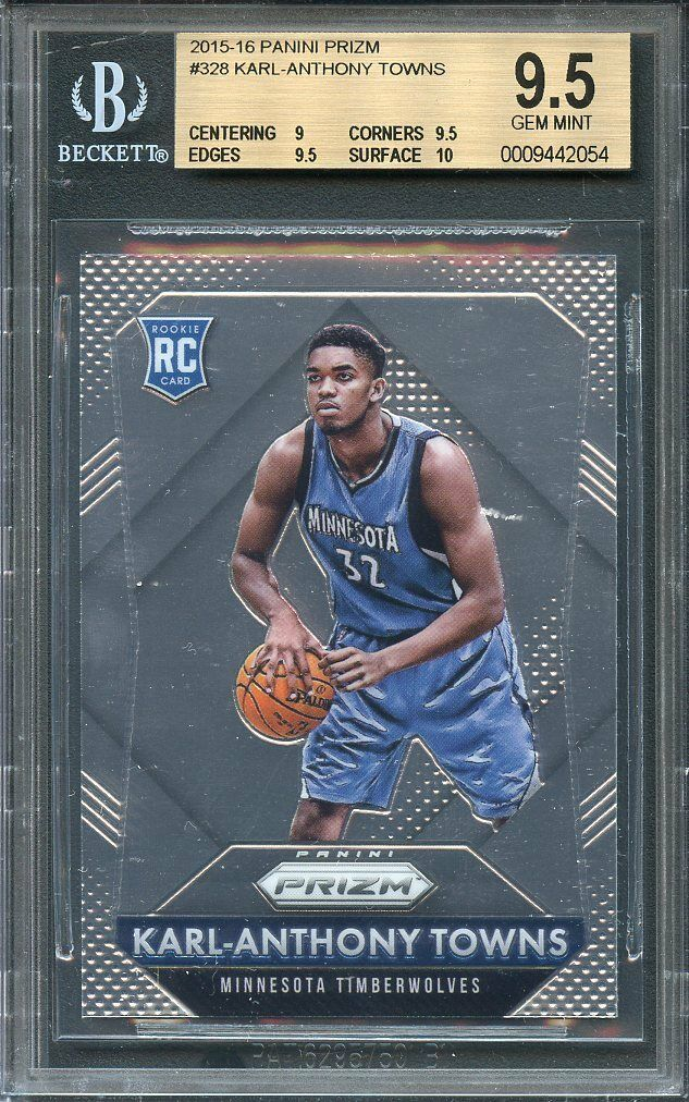 2015-16 panini prizm #328 KARL-ANTHONY TOWNS rookie card BGS 9.5 (9 9.5 9.5 10)