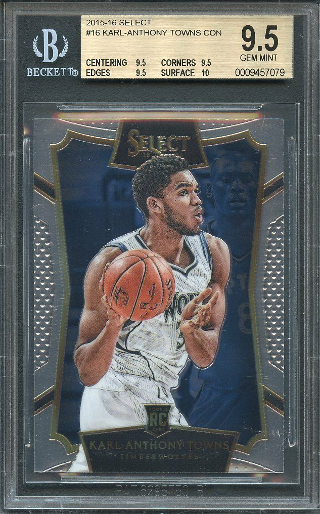 2015-16 select #16 KARL ANTHONY TOWNS rookie card BGS 9.5 (9.5 9.5 9.5 10)