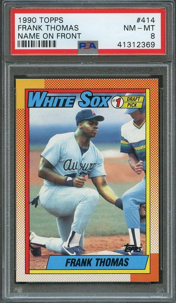 1990 topps #414 FRANK THOMAS chicago white sox rookie card PSA 8