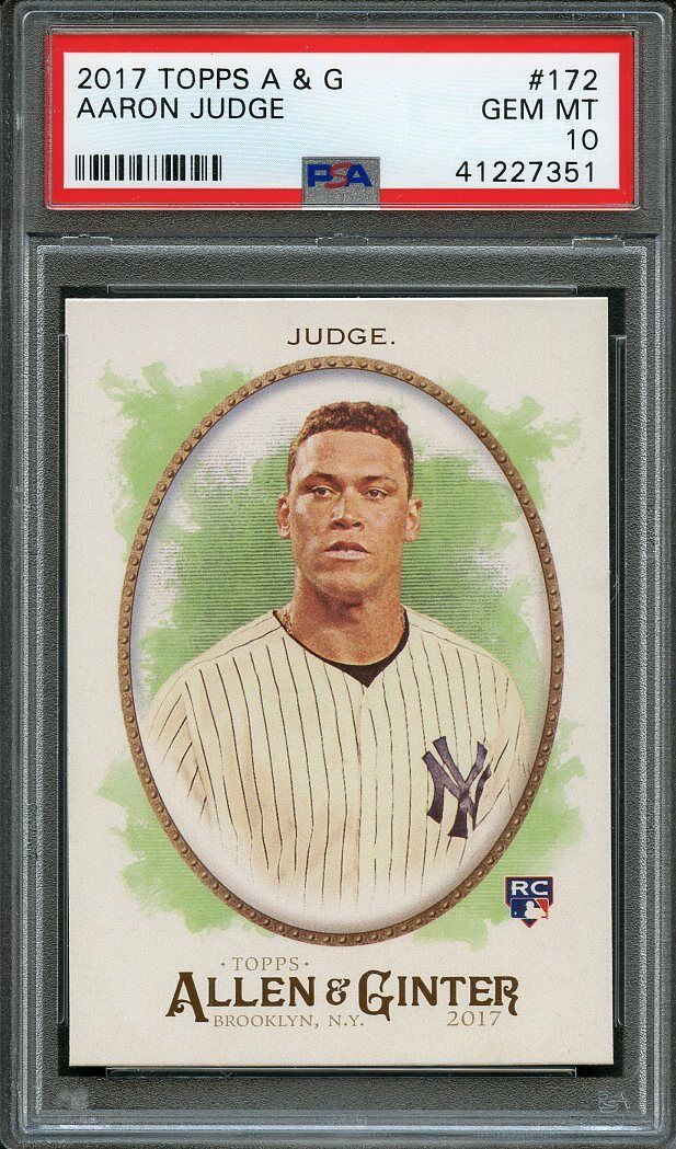 2017 topps a n g #172 AARON JUDGE new york yankees rookie card PSA 10