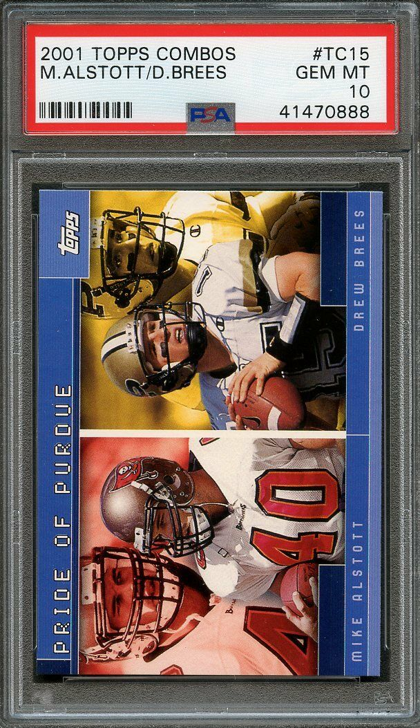 2001 topps combos #tc15 DREW BREES new orleans saints rookie card (pop 2) PSA 10