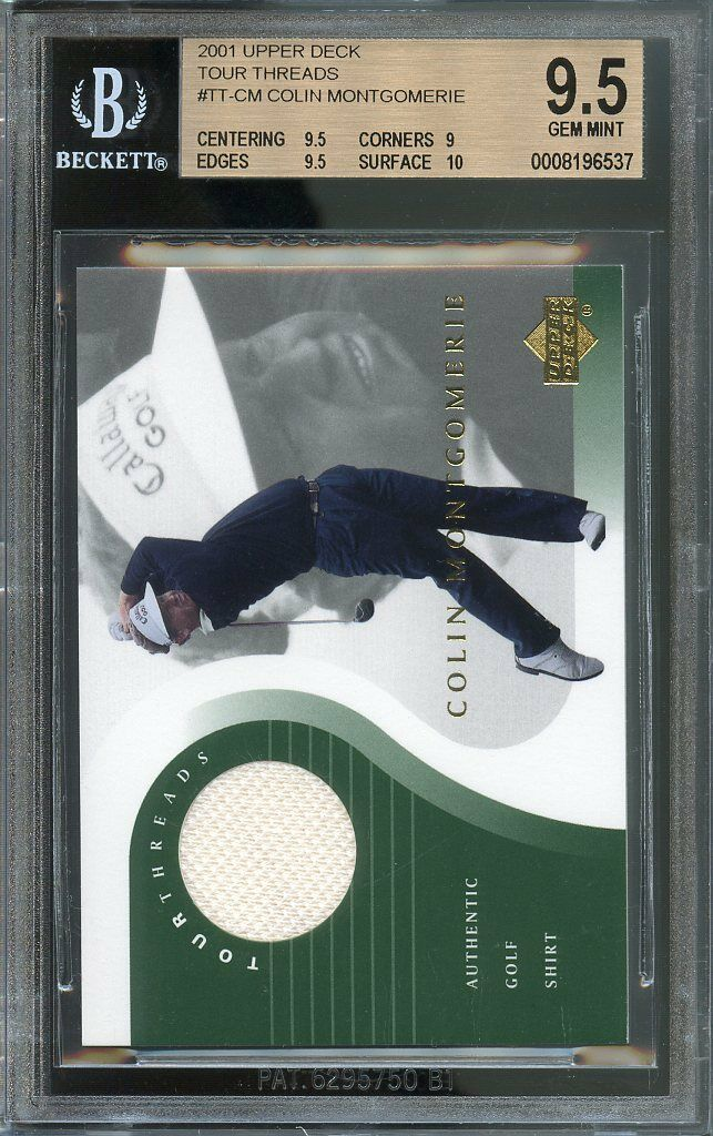 2001 upper deck tour threads #tt-cm COLIN MONTGOMERIE golf BGS 9.5: 9.5 9 9.5 10