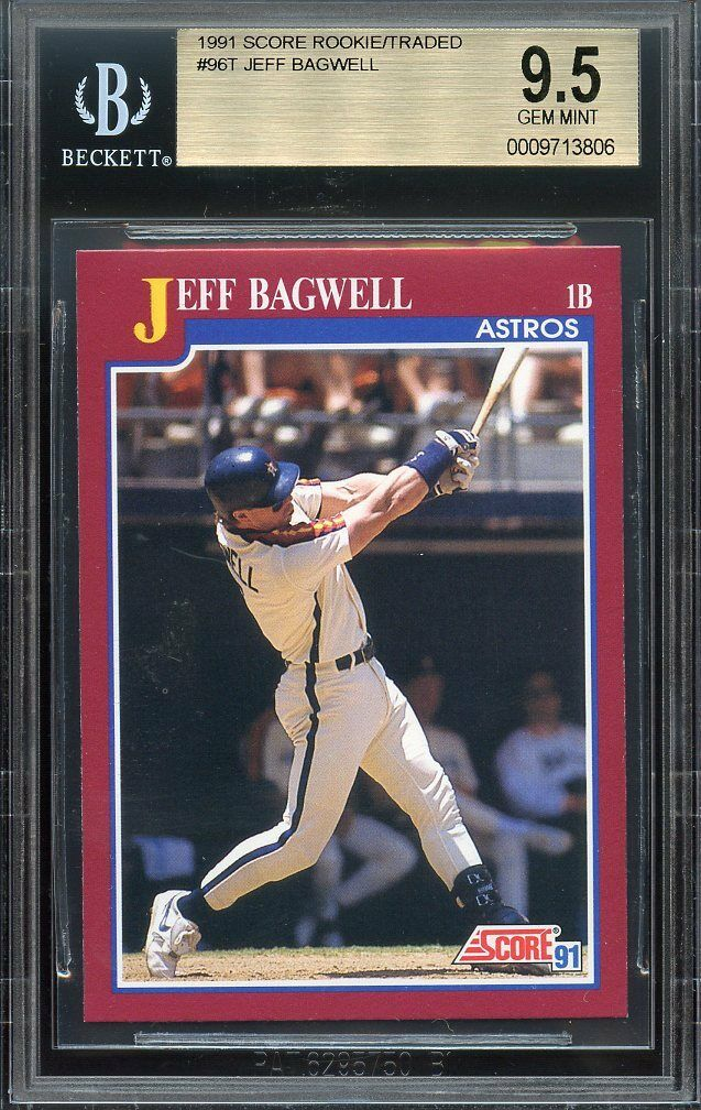 1991 score rookie/traded #96t JEFF BAGWELL houston astros rookie card BGS 9.5