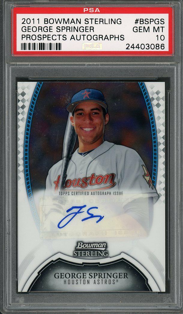 2011 bowman sterling prospects autographs #bspgs GEORGE SPRINGER rookie PSA 10