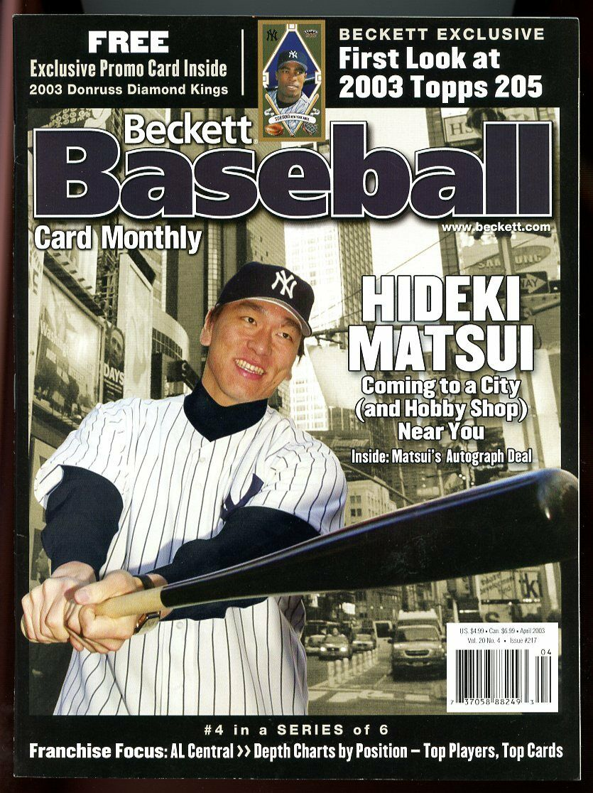 Beckett Baseball Card Monthly #217 April 2003 Hideki Matsui NY Yankees VG