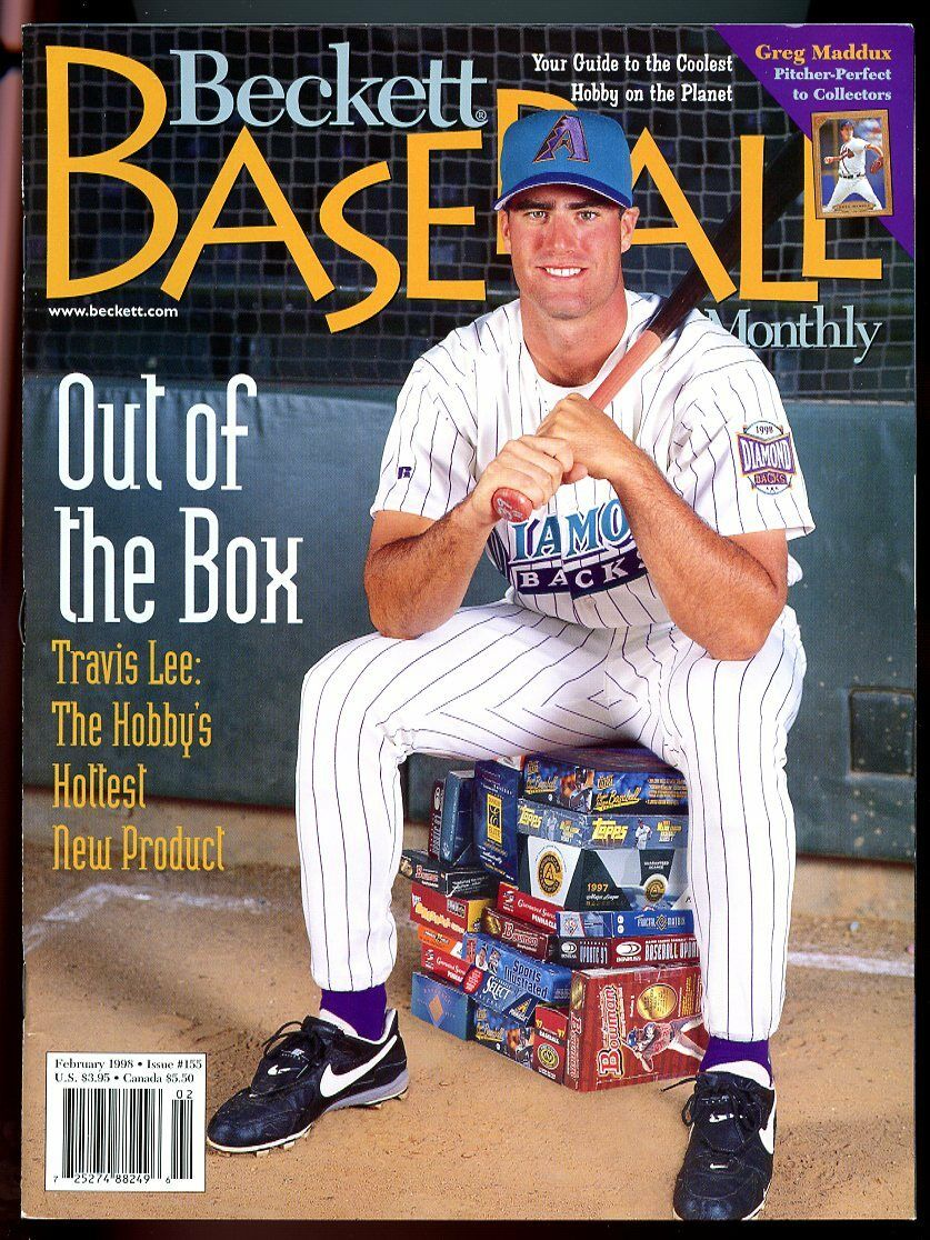 Beckett Basebal Card Monthly #155 February 1998 Out of the Box Travis Lee VG