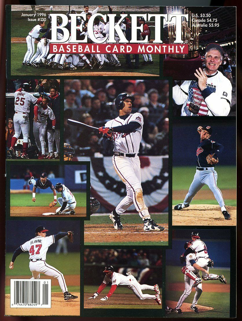 Beckett Baseball Card Monthly #130 January 1996 World Series Atlanta Braves VG