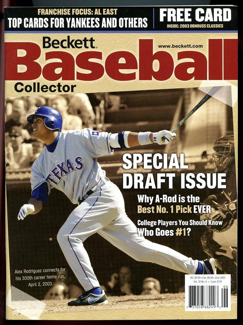 Beckett Baseball Collector #219 June 2003 Special Draft Issue Alex Rodriguez VG