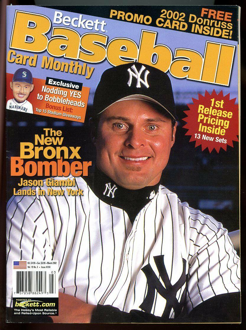 Beckett Baseball Card Monthly #204 March 2002 Bronx Bomber Jason Giambi VG