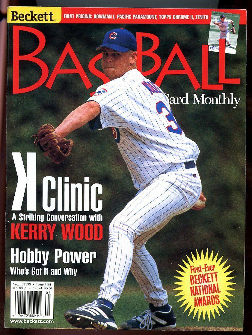 Beckett Baseball Card Monthly #161 August 1998 K Clinic Kerry Wood Cubs VG