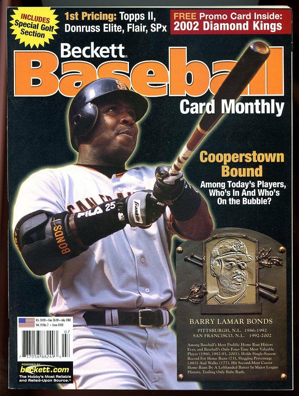 Beckett Baseball Card Monthly #208 July 2002 Copperstown Bound Barry Bonds VG