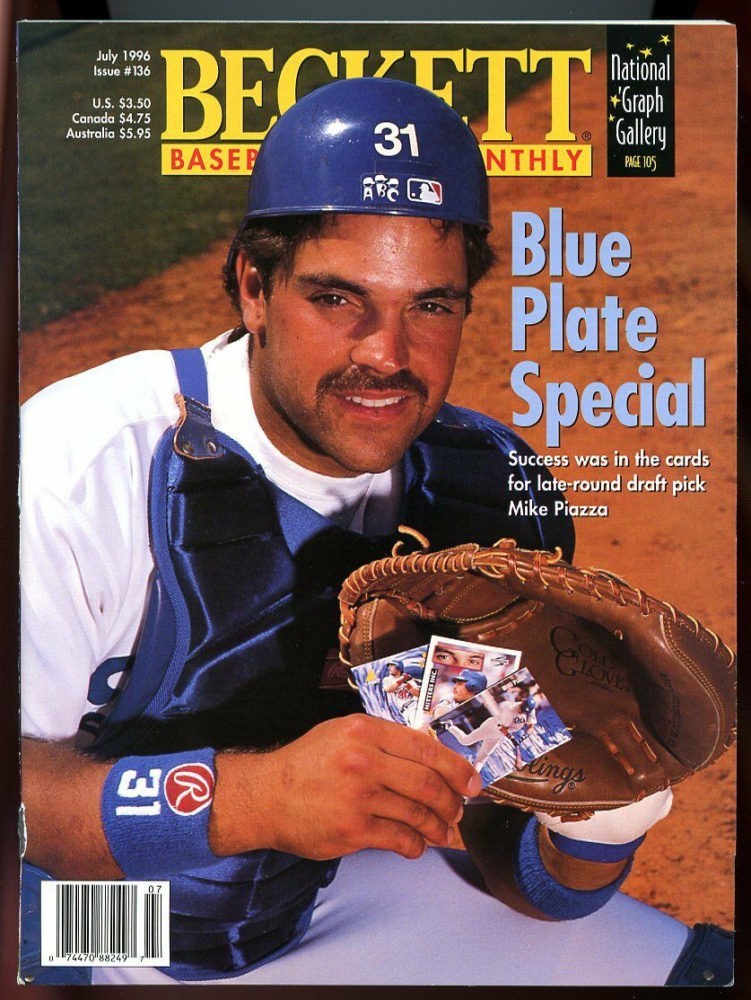 Beckett Baseball Card Monthly #136 July 1996 Blue Plate Special Mike Piazza VG
