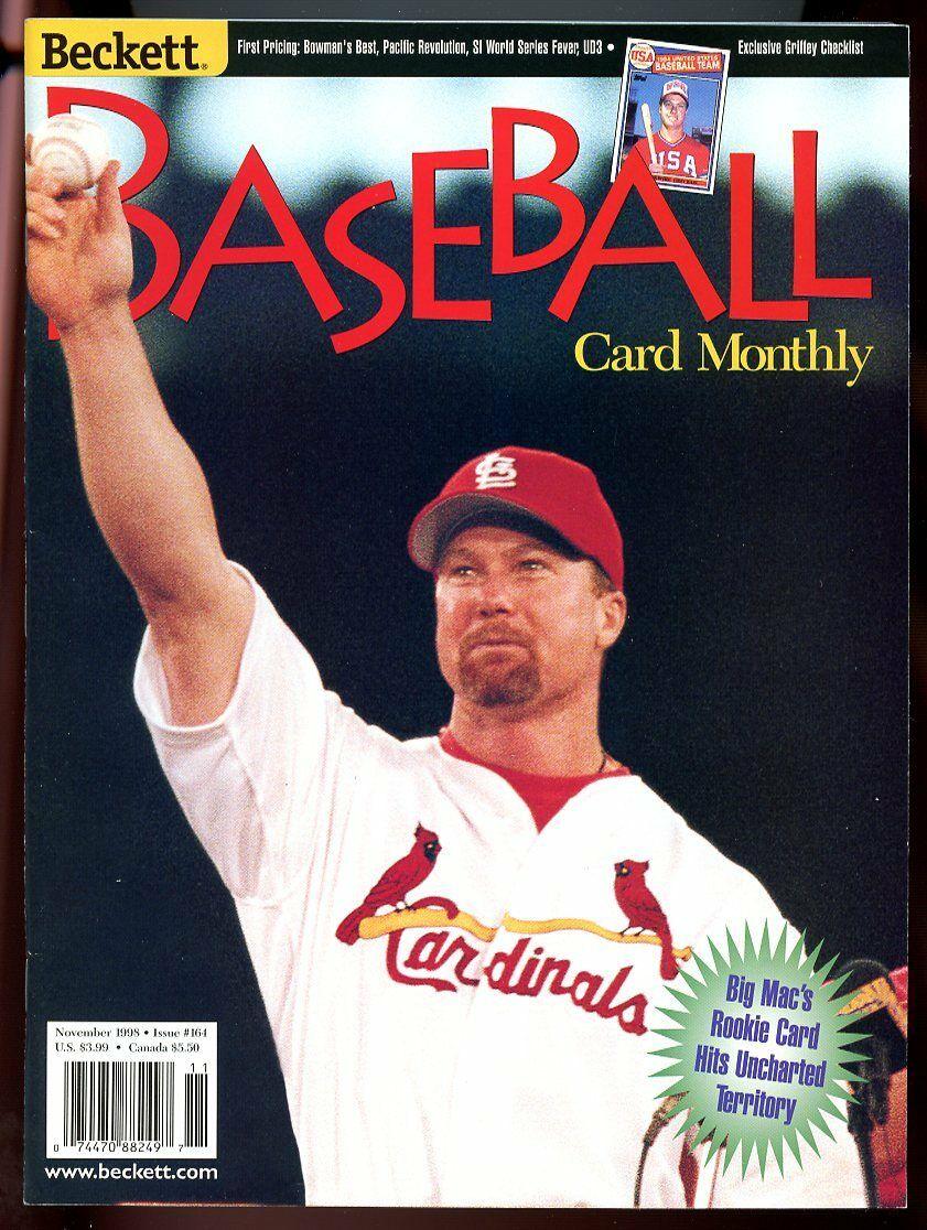 Beckett Baseball Card Monthly #164 November 1998 Mark McGwire Cardinals VG