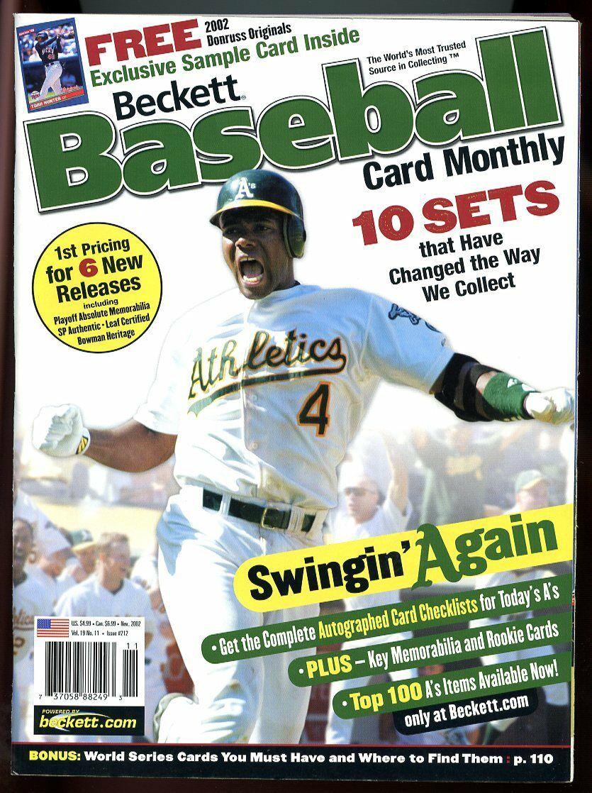 Beckett Baseball Card Monthly #212 November 2002 Swingin' Again Miguel Tejada VG