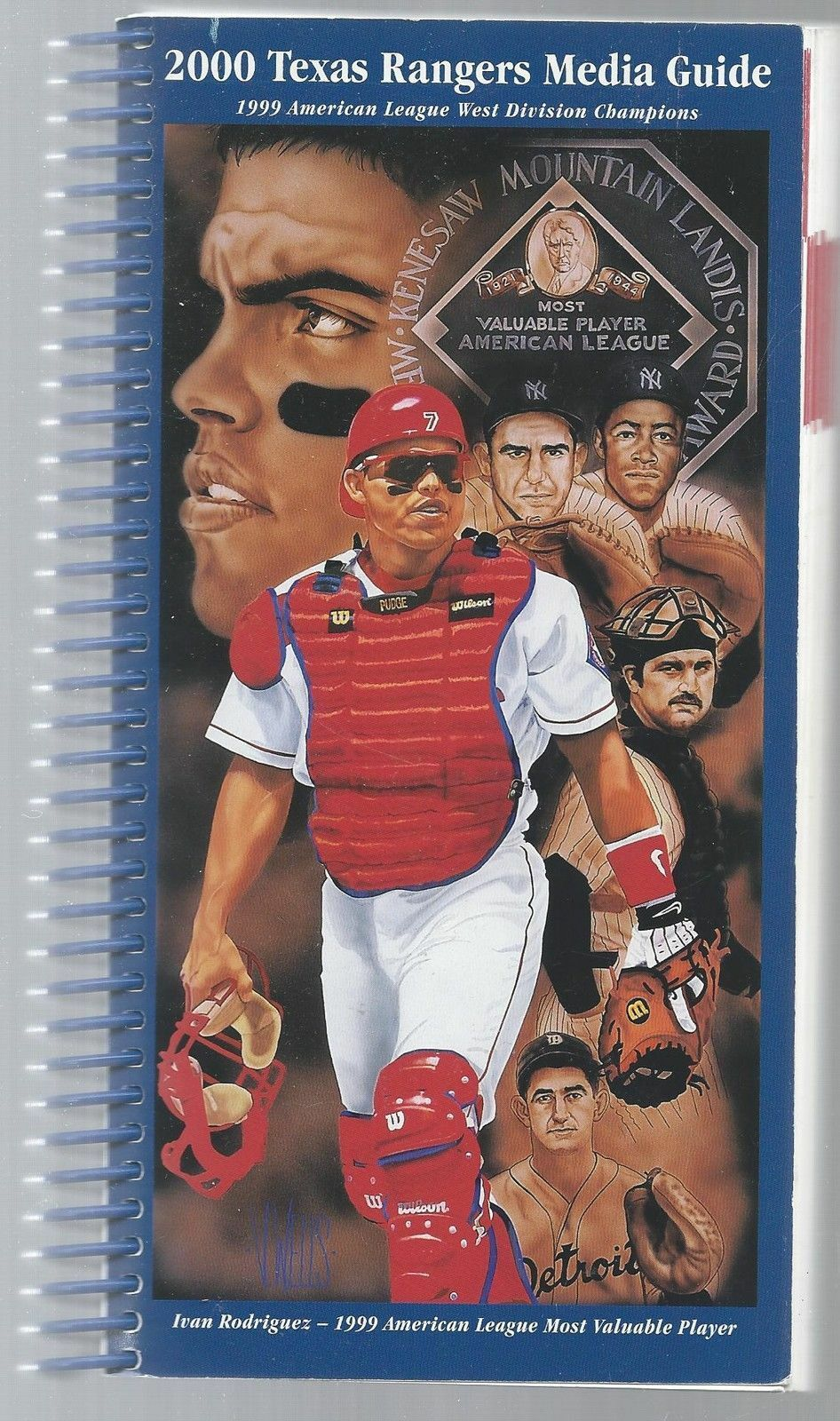 2000 Texas Rangers Baseball MLB Media Guide - Ivan Rodriguez spiral cover