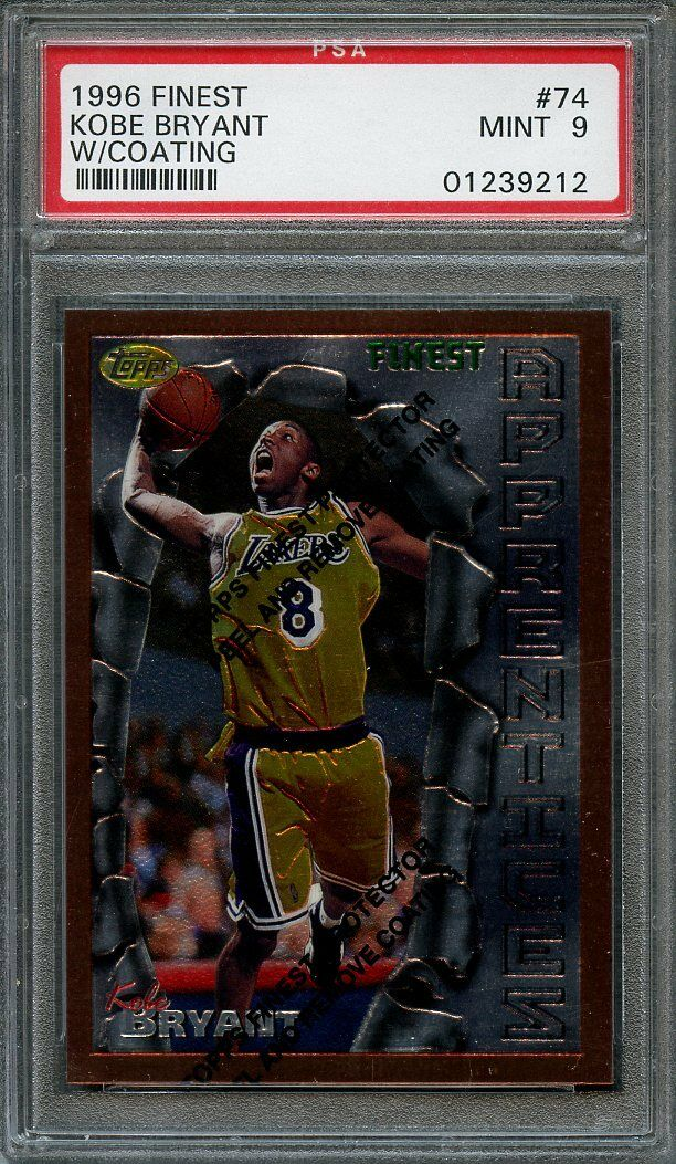 1996-97 finest #74 KOBE BRYANT w/ coating los angeles lakers rookie card PSA 9