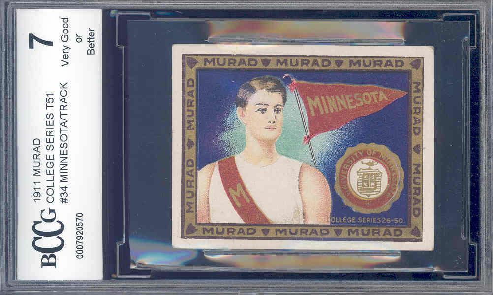 1911 murad college series t51 #34 MINNESOTA/TRACK BGS BCCG 7