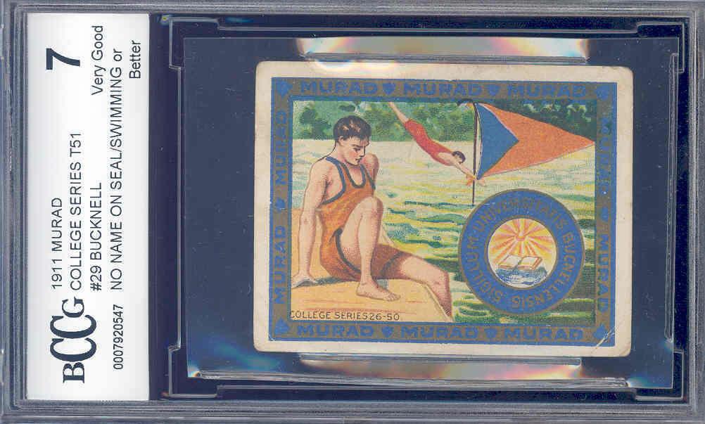 1911 murad college series t51 #29 BUCKNELL/SWIMMING BGS BCCG 7