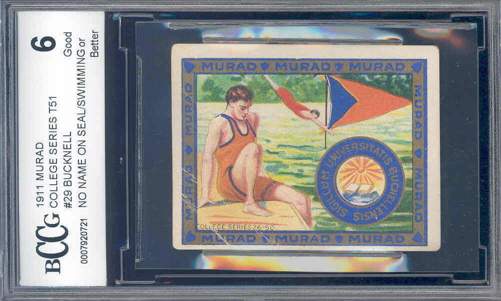 1911 murad college series t51 #29 BUCKNELL/SWIMMING BGS BCCG 6