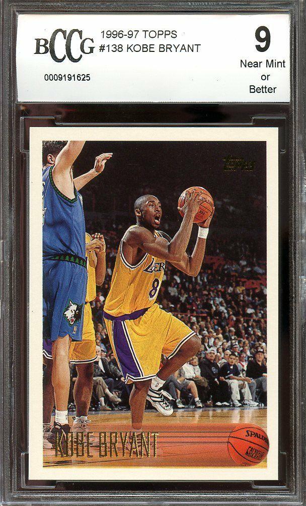 1996-97 topps #138 KOBE BRYANT los angeles lakers rookie card BGS BCCG 9