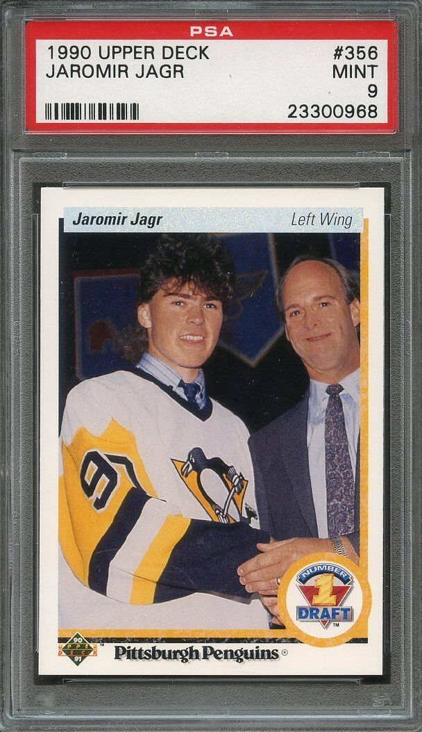 1990-91 upper deck #356 JAROMIR JAGR pittsburgh penguins rookie PSA 9