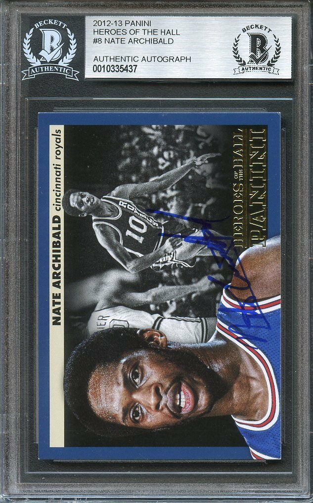 2012-13 panini heroes of the hall #8 NATE ARCHIBALD autograph BGS BAS AUTHENTIC