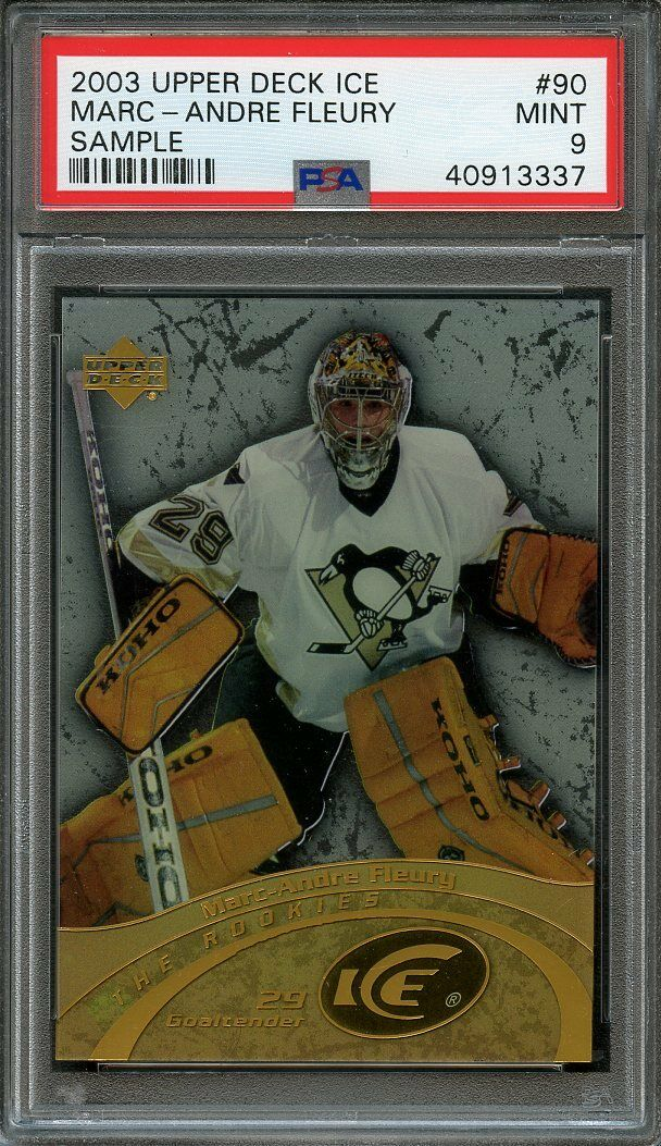 2003-04 upper deck ice sample #90 MARC-ANDRE FLEURY vegas knights rookie PSA 9