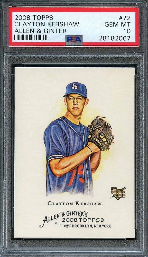 2008 topps allen n ginter #72 CLAYTON KERSHAW los angels dodgers rookie PSA 10