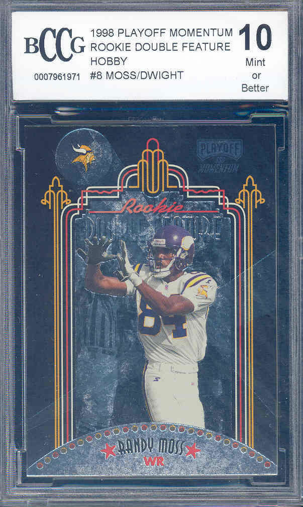 1998 playoff momentum rookie double #8 RANDY MOSS TIM DWIGHT rookie BGS BCCG 10