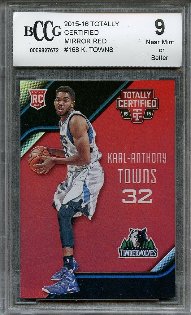 2015-16 totally certified mirror red #168 KARL-ANTHONY TOWNS rookie BGS BCCG 9