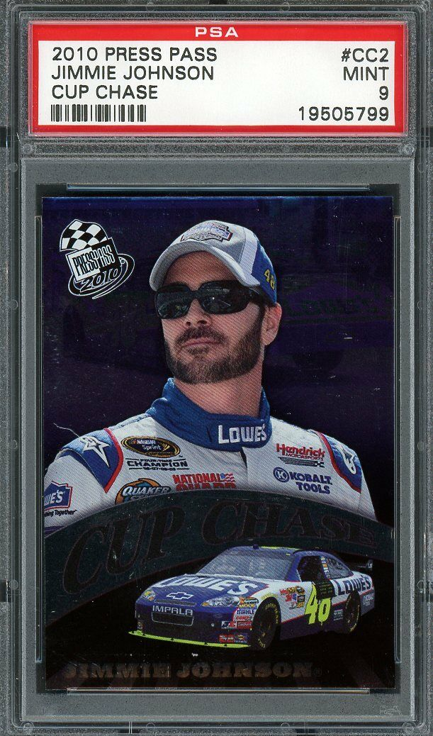 2010 press pass cup chase #cc2 JIMMY JOHNSON nascar PSA 9