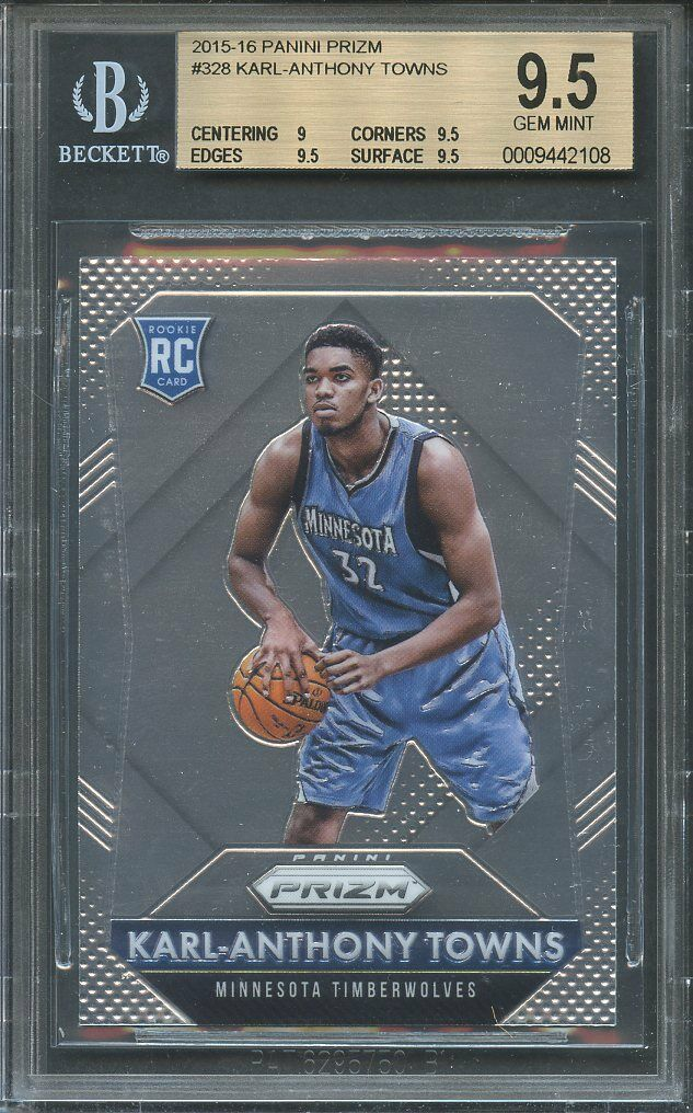 2015-16 panini prizm #328 KARL-ANTHONY TOWNS rookie card BGS 9.5 (9 9.5 9.5 9.5)